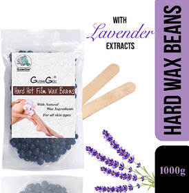 GutarGoo Painless Brazilian Hair Removal Hard Film Hot Wax Beans with free spatula (1000g, Relaxing Lavender)