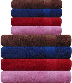 Akin MultiColor Cotton Towels - Set Of 8 ( Bath Towels - 4, Hand Towels - 4)