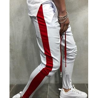 Ruggstar Track Pant for Men(White Red)