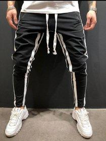 Ruggstar Track Pant for Men(Black white 8 patti)