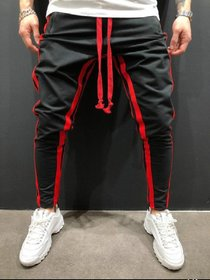 Ruggstar Black Track Pant for Men With Red Strips