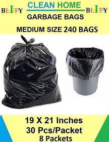 Clean Home Garbage Bags Black Colour 19 X 21 inch Medium Size 240 Bags