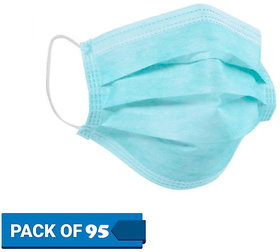 ABD Kingdom Surgical Mask With Melt Blown Fabric Layer  (Blue, Free Size, Pack of 95, 3 Ply) - Flu mask