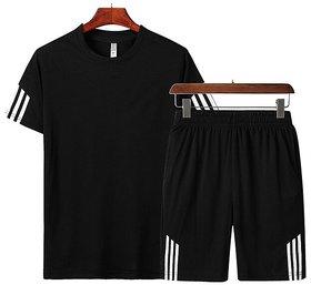 29K Men Black Casual T-Shirt -Short Set