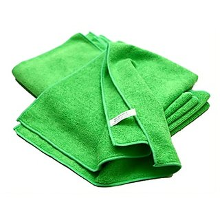 4-Piece Microfiber Towel Cloth Set Car And Bike Cleaning Household Dusting, Scratch Free Cleaning - Green Color, 40X40Cm