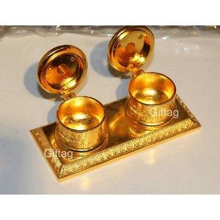 Decor And Art Double Beautiful Golden Metal/Zinc Chandan Roli Chopda, Chawal-Akshat-Haldi Box for Gift and Pooja Purpose