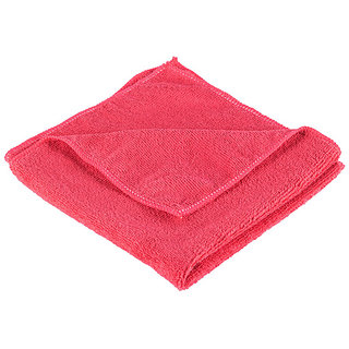 4-Piece Microfiber Towel Cloth Set Car And Bike Cleaning Household Dusting, Scratch Free Cleaning - Red-Color, 40X40Cm