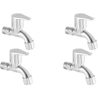ZESTA Stainless Steel Brass Disc Flora Bib Cock Tap with Flange (Standard Silver) - Pack of 4