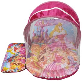 Barbie Digital Printed Soft and Comfortable New Born Baby Bedding Set with Protective Mosquito Net and Pillow