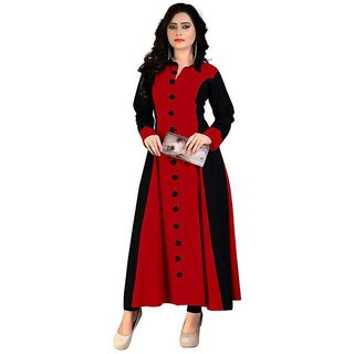 Maroon Rayon Plain Semi Stitched A-Line Kurti by Lunious Fashion