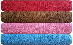 Akin Premium Multicolor 500 GSM Cotton Bath Towels Set Of 4