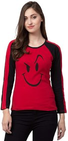 STITCH VASTRA Full Sleeve, Round Neck Navy Color Printed Women's T-Shirt SBOF-5286-Red
