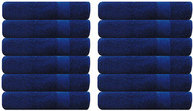 Akin Premium 500 GSM Blue Cotton Hand Towels Set Of 12