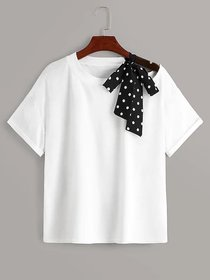 Raabta Fashion RWT-001T White Solid Round Neck Tees With Shoulder Contrast Scarf Streps