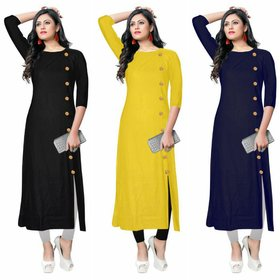 Pack of 3 Aiza collection Multicolor Plain Crepe Stitched Kurta