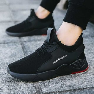 MarcoUno Comfortable Lace-up Casual Sneakers For Men (Black)