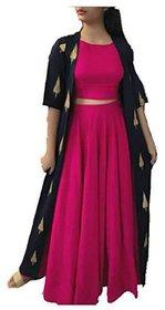 Lunious Fashion Rayon Design Dark Pink and Blue Shark 3 Pcs Set
