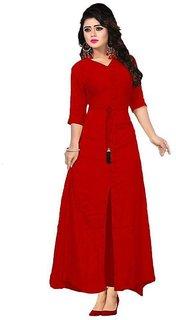 Rayon Design Red Fashionable Front Slit Kurti