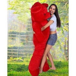 Truelover 5 Feet BIG Stuffed Spongy Teddy Bear Cuddles Soft Toy For Girls 152 Cm - Red