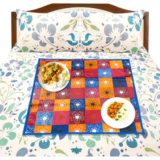 LooMantha COLORFUL PRINTED REVERSABLE WATERPROOF PVC MULTIPURPOSE MAT BED FOOD SERVER MAT(33x33 cm)