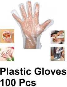 100 Pcs Disposable Plastic Hand Gloves, Poly Gloves, PE Gloves, Polythene Gloves, For Kitchen, Cooking, House Cleaning,