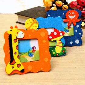 Kuhu Creations Colorful Wooden, Small Photo Frame, Cute and Beautiful.(Small Frame Mix Style 3 Pcs).