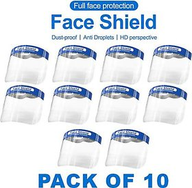 Pack Of 10 Transparent Full Face Protective Face Shield by Zesta