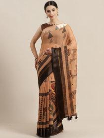 Sutram Orange Cotton Linen Saree with Blouse Piece