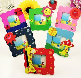 Kuhu Creations Colorful Wooden, Small Photo Frame, Cute and Beautiful.(Mix Style 6 Pcs).