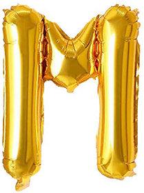 Decoration Foil Toy Balloon 16 Inch Letter Alphabets - (Golden-M Shape)