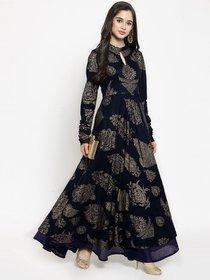 Rayon Design Glamour Navy Blue Printed Anarkali Kurti