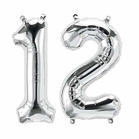 JMO27Deals Solid 12 Number foil Balloon for Birthday Party Decoration/Birthday suppliers /Birthday Decoration Balloon