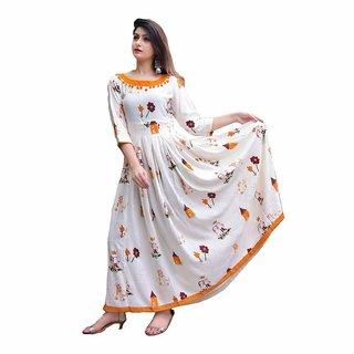 Rayon Design White Printed Gudda Guddiya Anarkali Set