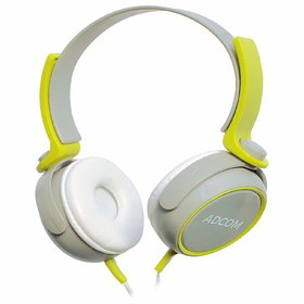 Adcom Junior Over the Ear Wired Stereo Headphones With Adjustable Leather Padded Cushions and 40mm Drivers (Grey/Green)