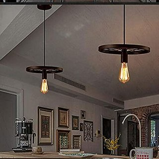 Pradipta's Round Wheel Black Hanging Pendant Light with Braided Cord (Bulbs Not Included)