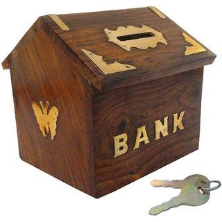 GOODWILL CRAFTS wooden money bank big piggy coin box gullak and hut shape