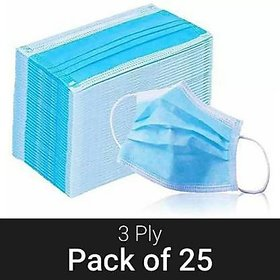 Surgical Mask With Melt Blown Fabric Layer  (Sky Blue, free size, Pack of 25, 3 Ply)