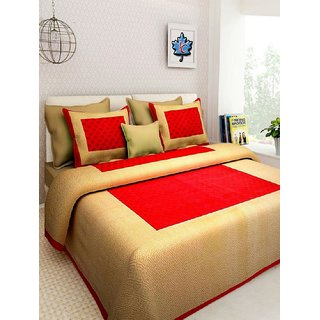 Trend Solutions 130 TC Cotton Double Jaipuri Prints Bedsheet (Pack of 1, Red)