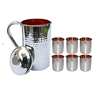 1.6 Litre Pure Copper Steel JUG with 2 Copper Steel Glasses (300ml Each), 100 Leak Proof and Joint Free