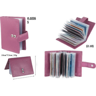 theFitSquare Men Pink Original Leather RFID Card Holder 20 Card Slot 0 Note Compartment TFS-1036