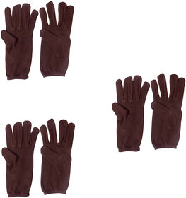 Aadikart  Bike Riding Protective Cotton Gloves Brown Half for Men and Women Pack of 3