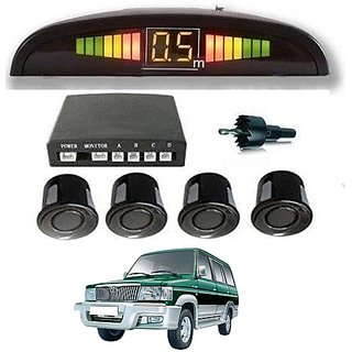 After cars Toyota Qualis Car Reverse Parking Sensor with LED Display (Black) with free gift Car Bluetooth
