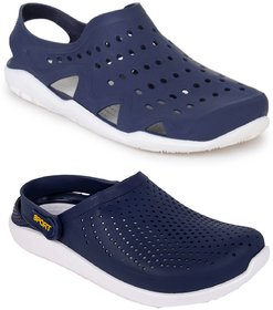 Pampys Angel Combo Pack of 2 Floater Sandals Clogs for Men