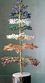 Shubh Sanket Vastu Crystal Tree 7 Chakra in 7 Colour 14 to 15 inches with Golden or Silver Wire