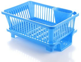Prexo 3 in 1 Blue Kitchen Sink Basket with Drainer rack