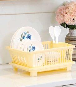 Prexo 3 in 1 Creamy White Kitchen Sink Basket with Drainer rack
