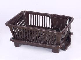 Prexo 3 in 1 Brown Kitchen Sink Basket with Drainer rack