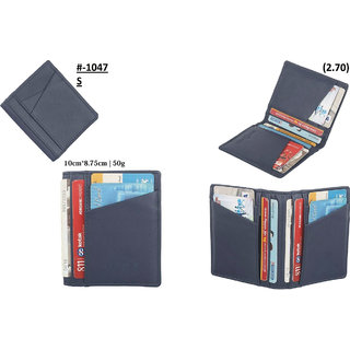 theFitSquare Men Blue Genuine Leather RFID Card Holder 16 Card Slot 2 Note Compartment TFS-1047