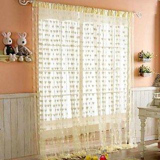 HomeStore-YEP 1 Piece Heart Door Curtains, Size 7 x 4 FT, Color - Cream