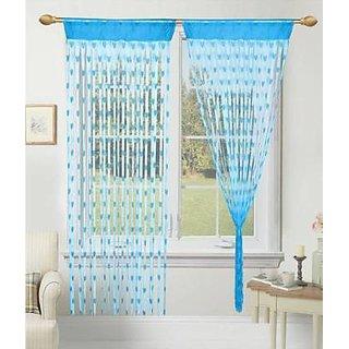HomeStore-YEP Sky Blue Polyester Heart Design Door Curtains 1 Piece (Size 7 x 4 FT)